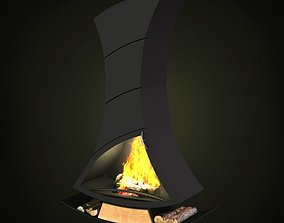 3D model Modern Black Fireplace And Hearth
