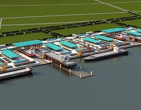 engineering Shipyards 3D model animated