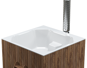 Large bath for four people with stove-heated 3D model