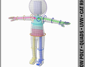 3D asset Adult Stylized Stickman 180cm Rigged with CAT Rig