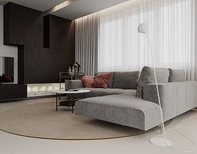 3D Modern Apartment with Kitchen scene for Cinema 4D 1