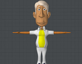 3D model old white grandpa