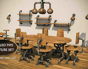 Recycled Pipe Furniture Set 3D