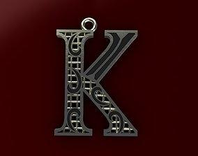 Alphabet Pendant 3D printable model pendant