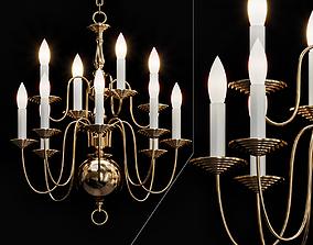 3D model Six Light Dutch Brass Antique Chandelier