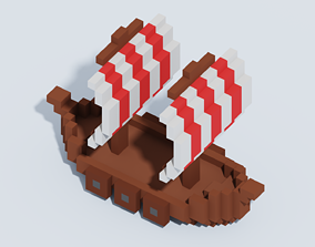 Voxel Viking Ship T1 3D model