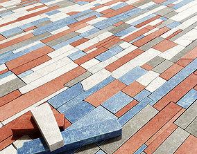 3D model Paving stone rectangle splinter n1