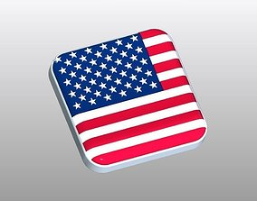 3D print model Flag of USA Button Shape