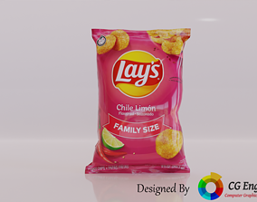 VR / AR ready Lays 3D Model - Lays Chile Limon Flavour