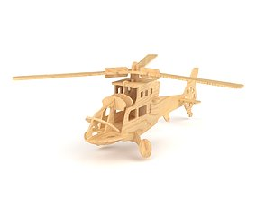 Wooden toy helicopter 06 3D model