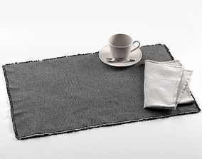 Maya Placemat with Napkin and Tea Cup 3D