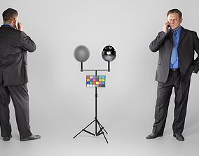 3D asset realtime Man in suit talking on the phone 159