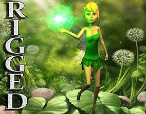 3D asset Rigged cartoon fairy