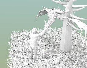 3D print model Man touching dragon on tree