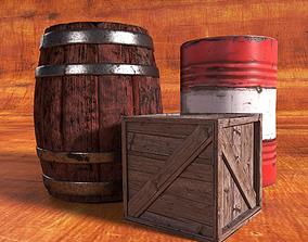 3D asset PBS Barrels and Crates