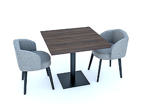 3D asset low-poly Cafe Table And Chairs