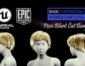3D asset Pixie Blunt Cut Bangs Groom RealTime Hairstyle 2