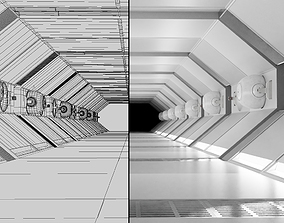 Sci fi Corridor White Low-poly 3D realtime