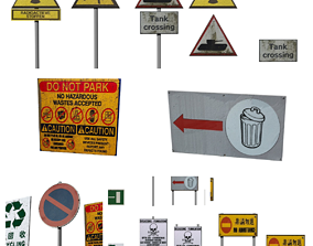 Urban City Sign Pack 4k Low Poly Environment 3D model 2