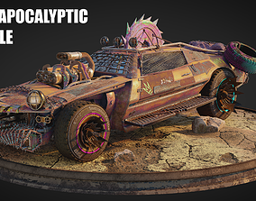 Post Apocalyptic Vehicle Blender Scene 3D model animated