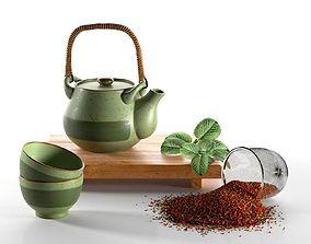Rustic Tea Set cups 3D model