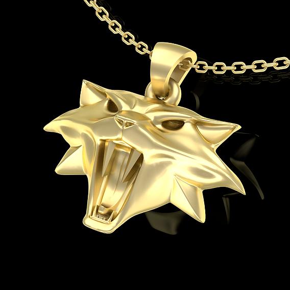Witcher Cat Pendant jewelry Gold 3D print model
