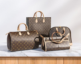 Set of four stylish brown bags 3D model