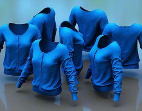 Blue Buttoned Top 3D asset