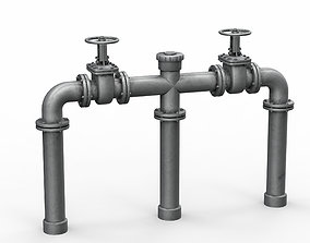 3D asset VR / AR ready Industrial pipe assembly v3