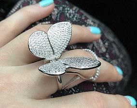 woman Moving Butterfly Ring 3D printable model