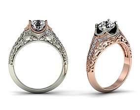 1ct Diamond Engagement Ring 3D Model Filigree Style Ring