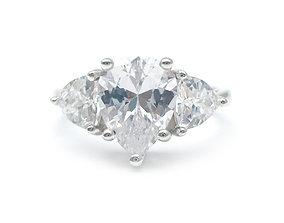 3DM Vintage three stone statement ring