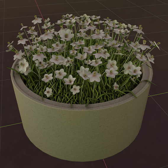 Concrete-Pipe-Pot-1500mm-with-White-Flowers-Version-1 (Blender-2.91 Eevee)