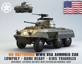 Low Poly M8 Greyhound armored car 3D asset