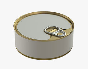 3D model canned food round tin metal aluminium can