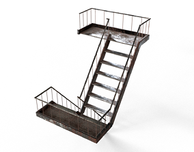 Industrial Stairs - Game Ready - Fully Modular 3D model