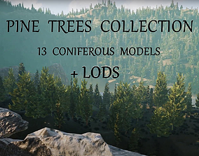 3D asset Realistic Collection Coniferous Pines Trees with