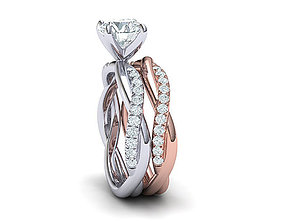 diamonds Wedding set with 1ct stone Printable 3d models