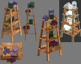 wooden stepladder 3D model