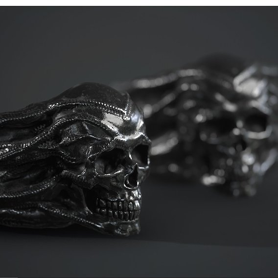 skull ring low poly PBR and high poly 3d print model