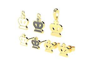 King pendants and earrings chess set 3D print model