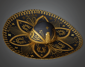 3D asset game-ready Mariachi Hat - HAT - PBR Game Ready