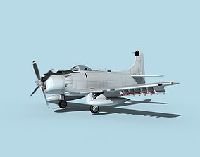 Douglas A-1H Skyraider Bare Metal 3D model