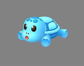 Cartoon Sea Turtle - Blue Tortoise Doll Toy 3D asset
