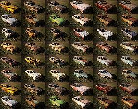 48 OLD ABANDONED CARS 3D model