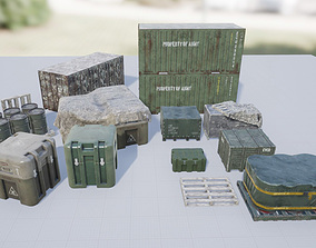 3D asset PBR Military Containers and Crates Pack
