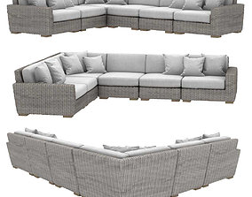 Restoration hardware BIARRITZ MODULAR L-SECTIONAL sofa 3D