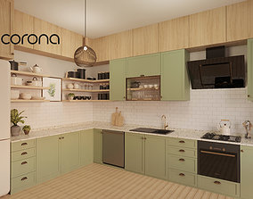 Modern Kitchen with Dining Set 3D model