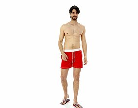 3D model Man with Red Shorts and Flip-Flops
