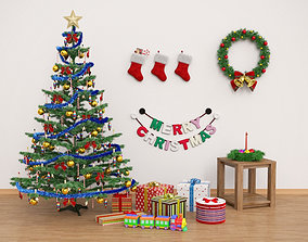 3D model Christmas Tree And Decorations